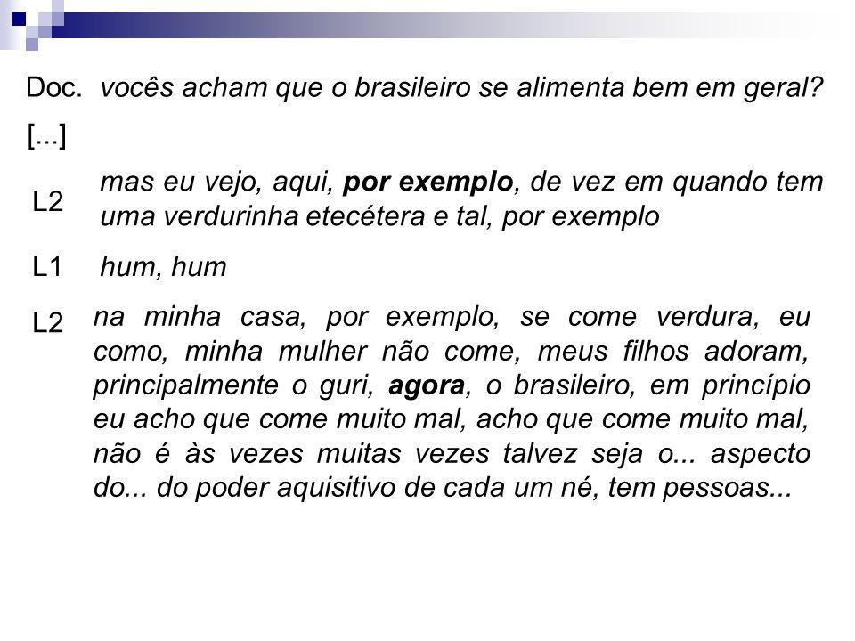 Doc. vocês acham que o brasileiro se alimenta bem em geral [...]